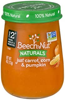 Beech-Nut Stage 2 Just Carrot, Corn & Pumpkin Baby Food, 4.0 oz, (Pack of 2)
