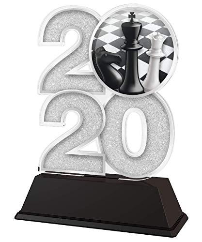 Trophy Monster Trofeo de Ajedrez 2020 Premio oro, plata o bronce, hecho de acrílico impreso, 120 mm (plata)