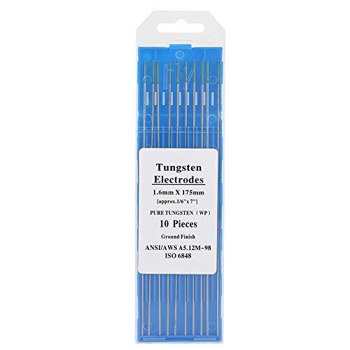 Wifehelper Electrodo de Tungsteno Puro 10 Piezas Varilla Electrodo de Tungsteno Puntas Profesionales de Punta Verde TIG para Máquina de Soldadura de CA(1.6mm*175mm)