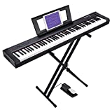 Starfavor 88 Key Digital Piano Beginner Electric Keyboard Full Size with Semi Weighted Keys Dual 30W Speakers SP-10 Bundle include Power Supply, Stand, Sustain Pedal, Cloth Cover, Piano Stickers