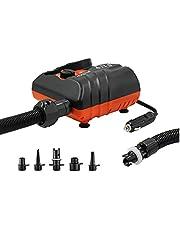 Portable Luftmadrass Pump, Camping Pump, Elektrisk Luftpump Compressor Quick Air Inflator För Styrelsen Pool Orange Black