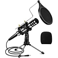 Eivotor 3.5mm Plug and Play Condenser Recording Microphone with Filter (Black)