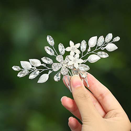 Unicra Silver Bride Hochzeit Haarkamm Blume Braut Kopfbedeckung Kristall Haarschmuck für Frauen und Mädchen