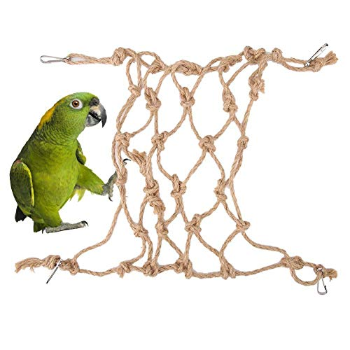 Sheens Parrot Rope Hammock Swing Toy, Pet Bird Swing Play Rope Ladder Hemp Rope Climbing Net Thick Chew Hanging Cage Toys for Cockatoo Parakeet Hamster(Small)