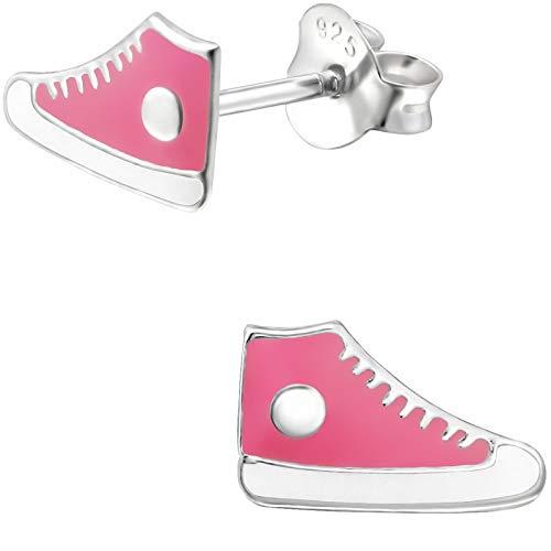 JAYARE Orecchini da bambina Chucks scarpe da ginnastica in argento Sterling 925, 6 x 10 mm, per bambine