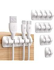 Syncwire kabelklemorganizer [PAK VAN 5] management minikabel nette houders voor netsnoeren, oplaadkabels, muiskabels en andere compatibele draden, wit/grijs