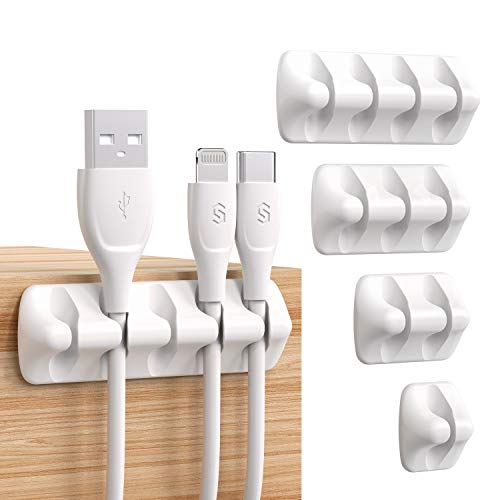 Syncwire Kabelclips Kabelhalter [5 Stück] Vielzwecke Kabelführung Kabel Organizer Set für Schreibtisch, Netzkabel, USB Ladekabel, Audiokabel, Ladekabeln usw. - Weiß