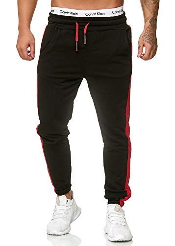 OneRedox Herren Jogging Hose Jogger Streetwear Sporthose Modell 1211 Schwarz S