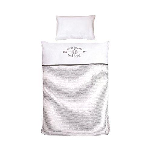 roba Bettwäsche 2-tlg, Kollektion 'Rock Star Baby 3', Kinderbettwäsche 100x135 cm, 100% Baumwolle, Decken-& Kissenbezug für Babys & Kinder
