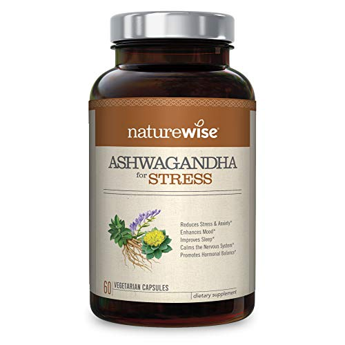 NatureWise Ashwagandha for Stress Relief and Anxiety, Calming Organic KSM-66 Ashwagandha Herbal Supplement Organic Extract + GABA, L-Theanine, Rhodiola (Packaging May Vary)[1 Month Supply – 60 Count]