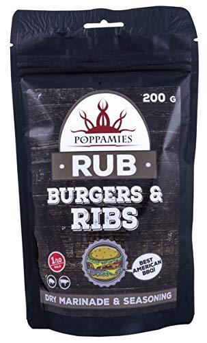 Poppamies Gewürzmischung Burger & Rippchen, Trockenmarinade & Würze Perfekt für Rind, Schwein - Großartig im Grill, Ofen, Kessel und Pfanne - Bestes American BBQ - Großpackung (200g)