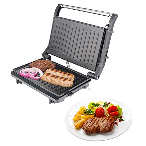 Hongwen Panini Press Grill, Sandwich Maker Non-Stick Coated Plates, Opens 180 Degrees to Fit Any Type or Size of Food, Stainless Steel Surface