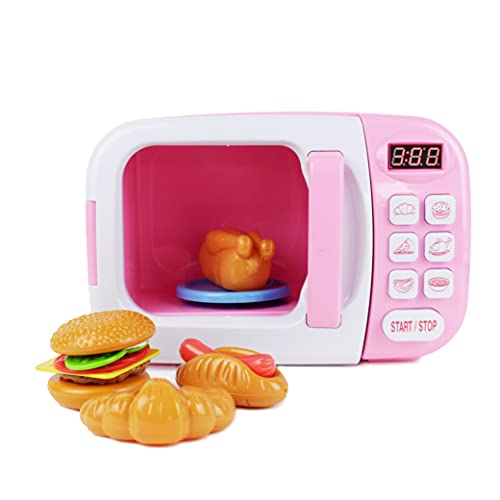 Boley Pink Microwave Playset - 11 Pc Light & Sound Pretend Play Kitchen Toys Set with Play Food for Kids Ages 3+
