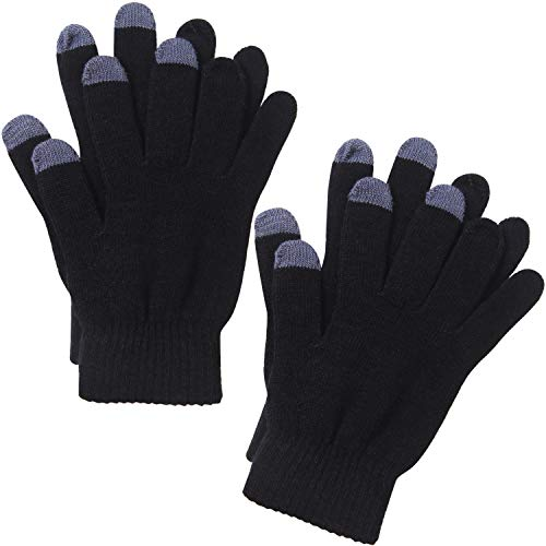Cooraby 2 Pairs Men or Women's Winter Touch Screen Magic Gloves Warm Knit Gloves Typing Texting Gloves (Black, Adults)