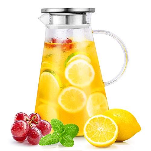 CNNIK Karaffe, 2 Liter Wasserkaraffe mit Edelstahldeckel, Glaskaraffe, Glaskrug für Heißes/Kaltes Getränk, Tee, Milch, Kaffee, Wein