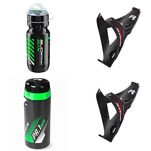 Raceone.it - Kit Race Trio X1 Matt (4 PCS): 2 Porta Bidon X1 + Bidon de Ciclismo XR1 + Toolbox PR1 Bici Carrera de Ruta/Bicicleta de Montaña MTB/Gravel Bike. Color: Negro/Verde 100% Made IN It