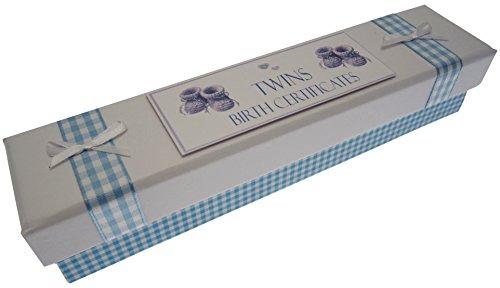 White Cotton Cards jumeaux d'acte de naissance Chaussons (Bleu)