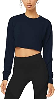 Womens Long Sleeve Crop Top Flowy High Neck Workout Yoga Shirts with Thumb Hole