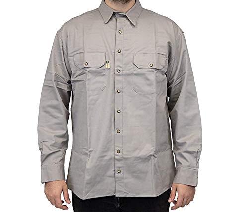 REIMER Work Wear Men's FR Flame Resistant Long Sleeve Two Pocket Work Shirt 88% Cotton & 12% Nylon (Grey, XL)