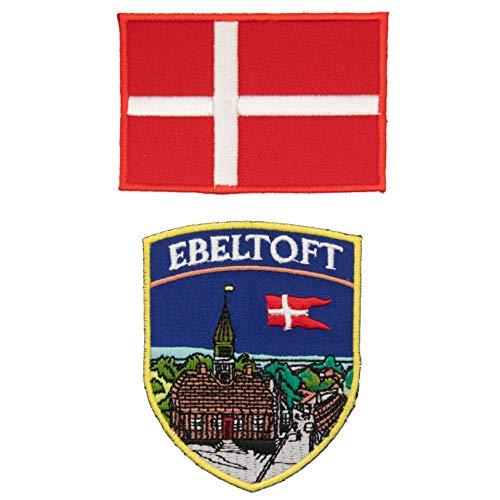 A-ONE Ebeltoft bestickter Aufnäher + Dänemark-Flaggen-Emblem, Europa-Reise-Souvenirs, 2 Stück