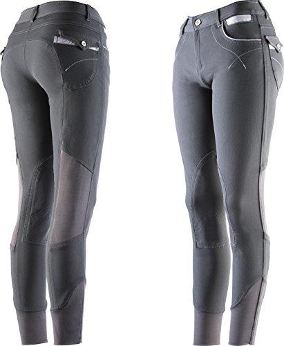 Equi-Theme/Equit'M Unisex's Reithose Lea, anthrazit/grau/weiß gestreift kontrasts, One Size, 979438042