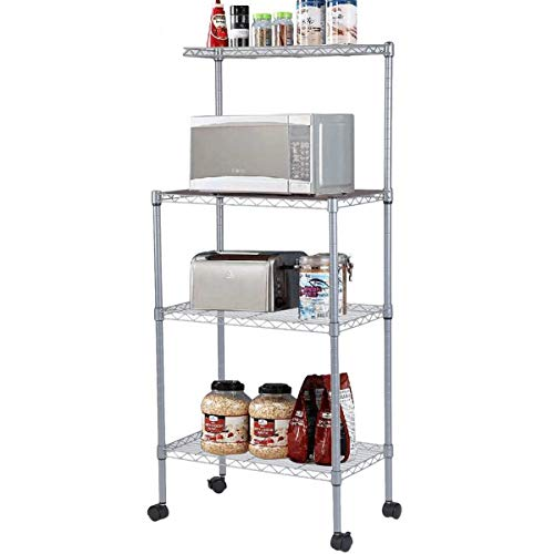 4-Tier Bakers Rack Microwave Stand Storage Rack, Adjustable Kitchen Bakers Rack Stainless Steel Microwave Oven Stand Household Storage Cart Workstation Shelf (Rack w/Wheels)