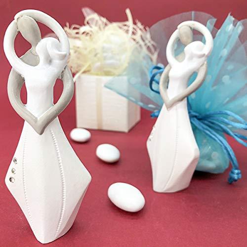 Ingrosso e Risparmio Statuine con sposi stilizzati in Resina Bianca e Tortora con Strass Tema Ballo bomboniere Eleganti Nozze Anniversario, in Due Dimensioni (Grande-Senza confezionamento)