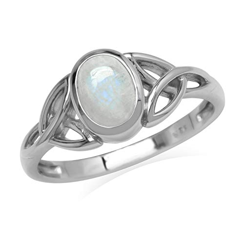 Silvershake Natural 7x5 mm Oval Rainbow Moonstone 925 Sterling Silver Triquetra Celtic Knot Ring Size 5