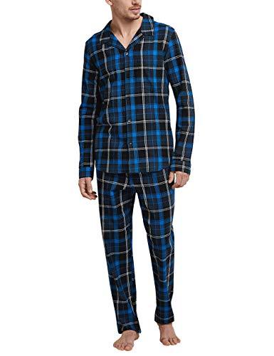 Schiesser Herren Pyjama lang Zweiteiliger Schlafanzug, Blau (Royal 2 819), Large (Herstellergröße: 052)