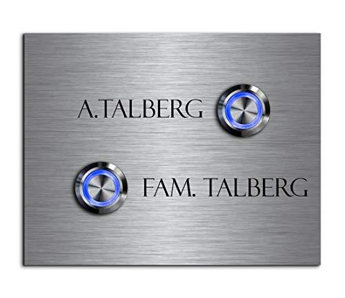 2-voudige deurbel dubbele bel met twee knoppen en naam gravure familiehuis roestvrij stalen belplaat voor 2 gezinnen 11 x 9 cm met meer dan 70 motieven