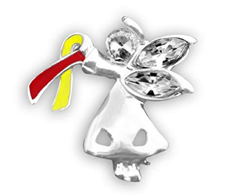 Fundraising For A Cause | Coronavirus Awareness Ribbon Angel by My Side Pin – Red & Yellow Ribbon Pin for COVID-19 Awareness (1 Pin - Retail)