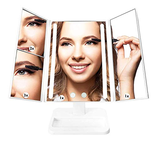 Folding Lighted Makeup Mirror 3Color Dimmable Lighting Vanity w/ 32 LEDs 1X 2X 3X Magnification Smart Touchscreen Control USB Power Portable Cosmetic Mirror