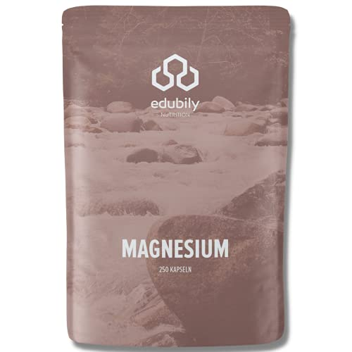 Magnesiumkomplex Kapseln von edubily® • Magnesiummischung aus Magnesiumglycinat, Magnesiumcitrat & Magnesiumcarbonat • Ohne Magnesiumstearat • Mit Vitamin B6 (P5P) • Vegan (250 Kapseln)