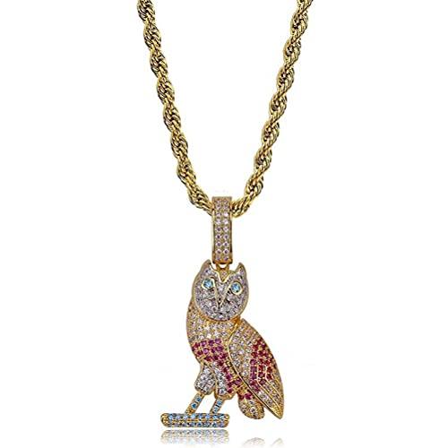 LYWER Owl Bow Pendiente Europeo Y Americano INSPLOSIÓN DE EXPLOSIÓN Modelos LLENADO DE Accesorios DE Collo DE CIRCON Color Hip-Hop