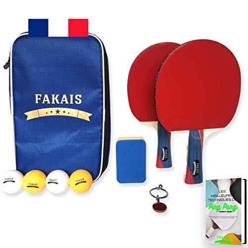 FAKAIS Bordtennisfladdermöss set, 2 paddlar, racketar – 4 bollsäkrat racketfodral – ping pong bat svamp – perfekt för att spela pingpong inomhus eller utomhus med familj och vänner eller i tävling