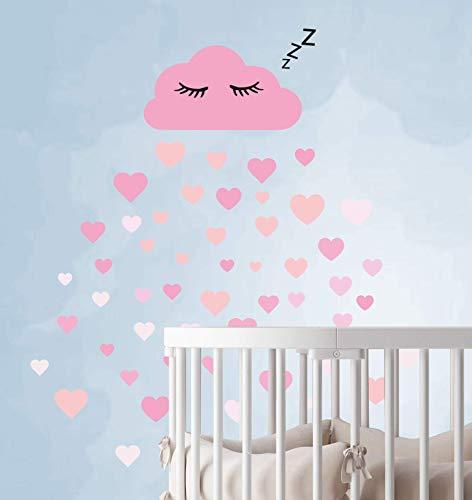60 delen wolken met gezicht muur sticker kinderkamer set - houtsnippers muursticker pastelkleuren babybehang sticker om op te plakken, muursticker slaperig oog wanddecoratie, muurfilm, peuters, roze