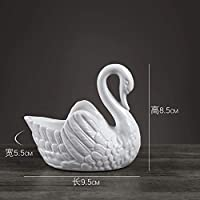 彫像と彫刻生きている白いセラミック像白鳥の結婚式のギフトの装飾フラワーポットローソク足の動物の工芸品のギフト、家の装飾