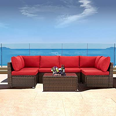 U-MAX Small 7 Pieces Patio Furniture Set, Brown Wicker Rattan Patio Conversation Sets, All-Weather Outdoor Combination Sofa with Glass Table and Red Cushion