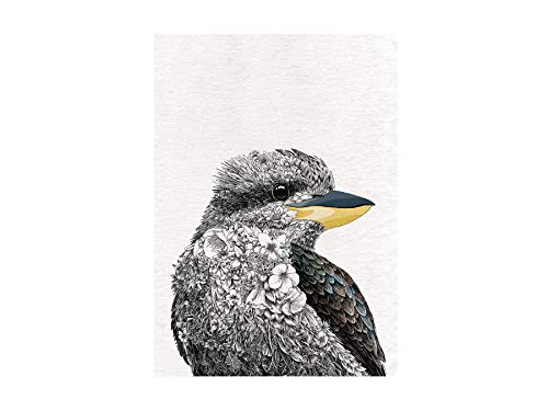 Maxwell & Williams Marini Ferlazzo Birds - Strofinaccio stampato, motivo: Kookaburra ridente, in cotone, colore: nero/bianco, 50 x 70 cm