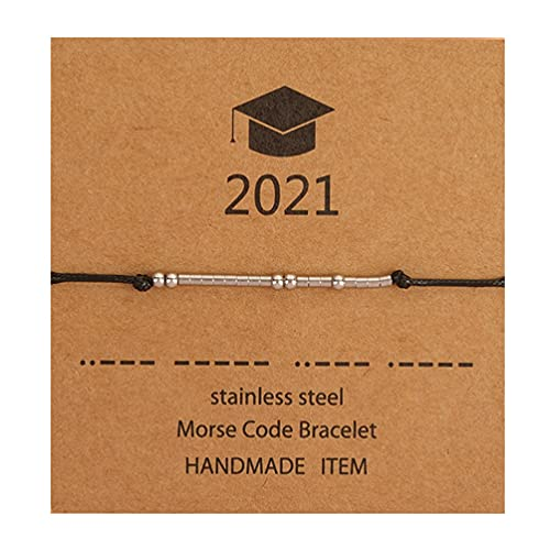 Generic 925 Sterling Silver Graduation Present Armband Morse Kod Smycken Gåva För Kvinnor Sterling Silver Pärlor På. Siden Med Kort