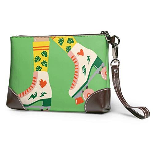 XCNGG Weiche wasserdichte Leder Wristlet Clutch Bag Nette Retro Rollschuhe Lady Clutch Bag Mit Reißverschluss Für Frauen Mädchen
