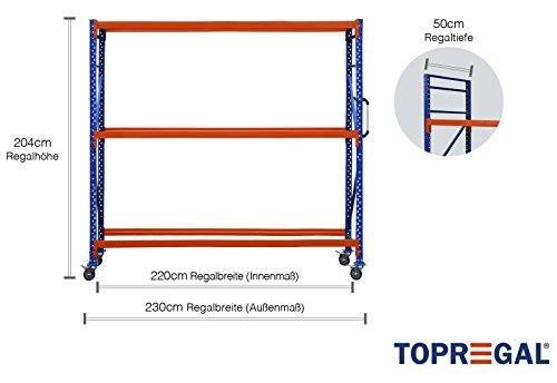 Bandenkwagen 2,3 m breed, 50 cm diep, 204 cm hoog bandenwagen industriële kast verrijdbaar