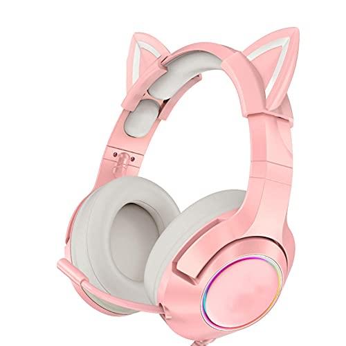 BAWAQAF Pink Headset Girls Auriculares estéreo con Cable para Juegos con micrófono...