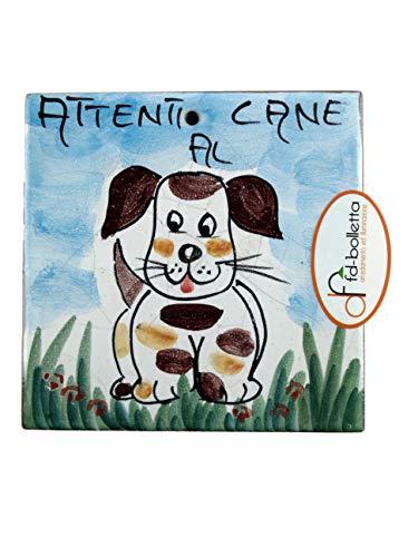 Decoración y iluminación de baldosas ornamentales de cerámica cuidados con el perro de pared pintada a mano Ma15. Medidas: 10 cm de altura, 10 cm de ancho, el grosor puede variar de 8 mm a 13 mm.