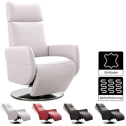 Cavadore Cobra - Sillón reclinable para televisión (Piel, función Relax, Altura Regulable, ergonomía L, soporta hasta 130 kg, 71 x 112 x 82 cm), Color Blanco