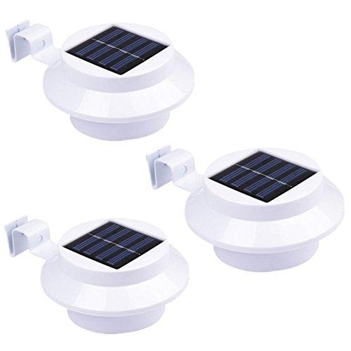 NORDSD 3er Set Solar Zaun Licht mit 3 LEDs - Garten Solarleuchte für Haus, Zaun, Garten, Garage und Gehweg Beleuchtung (warmweiß)