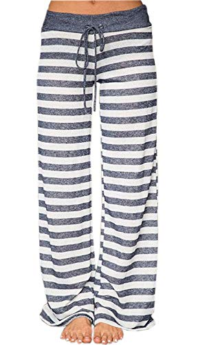 Artfish Women's Stretch Cotton Pajama Lounge Pants Striped Sleepwear (2XL, Grey Striped)