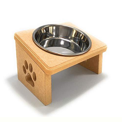 【猫 食器台 S ステンレスボウル1個】食べやすい 傾斜 肉球デザイン