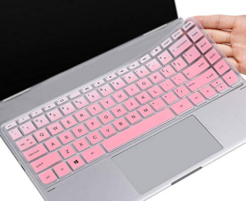Keyboard Cover for 2018 2017 HP Stream 14 inch Laptop/HP Stream 14-ax Series / 2018 2017 HP Pavilion 14-ab 14-ac 14-ad 14-al 14-an 14-cb 14 inch Laptop with Round Keypad, Ombre Pink