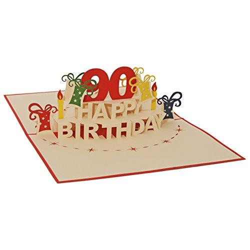 Favour Pop Up Glückwunschkarte zum runden 90. Geburtstag. Ein filigranes Kunstwerk, das sich beim Öffnen als Geburtstagstorte entfaltet. ALTA90R